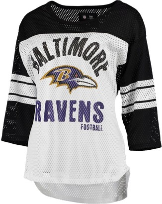 G Iii Women's G-III 4Her by Carl Banks White/Black Baltimore Ravens First Team Three-Quarter Sleeve Mesh T-Shirt