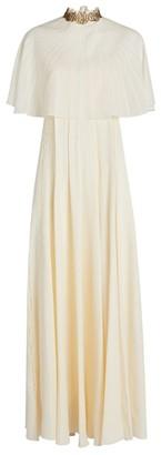 Chloé Cape-Top Silk Crepe de Chine Gown