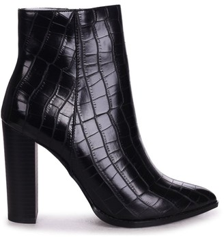 Linzi LUCY - Black Croc Ankle Boot With Stacked Block Heel