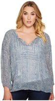 Lucky Brand Plus Size Blue Maze Peasant Top Women's Long Sleeve Pullover
