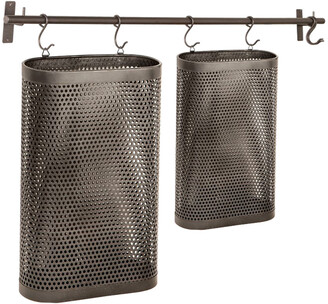 Uma Enterprises Black Perforated Metal Hanging Storage Baskets Set Of 2