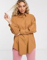 Monki stripe oversized blouse in beige