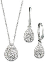 Eliot Danori Jewelry Set, Rhodium-Plated Crystal Teardrop Earrings and Pendant Necklace