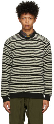 Beams Black and Off-White Fleece Striped Sweater