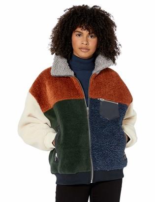 Blank NYC Women's Faux Sherpa Color Block Jacket Outerwear