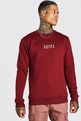 boohoo Mens Red Original MAN Crew Neck Sweatshirt, Red