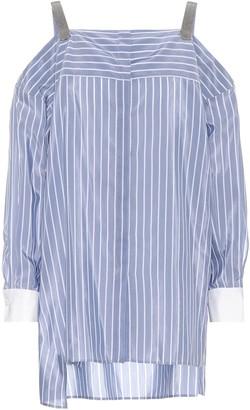 Brunello Cucinelli Cotton and silk off-the-shoulder top