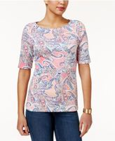 Charter Club Cotton Elbow-Sleeve Print Top, Only at Macy's