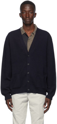 Maison Margiela Navy Wool Gauge 14 Cardigan