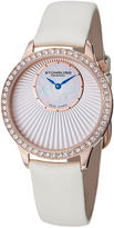 Stuhrling Original Sthrling Original Womens Crystal-Accent Inset-Dial White Leather Strap Watch