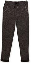 Karl Lagerfeld Metallic Jersey Track Pants, Black, Size 2-5