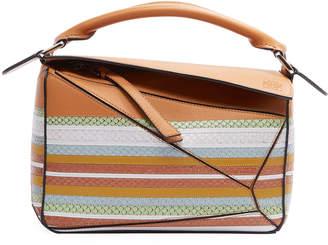 Loewe Puzzle Striped Snake-Print Leather Satchel Bag