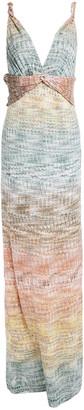 Missoni Twist-front Degrade Metallic Crochet-knit Maxi Dress
