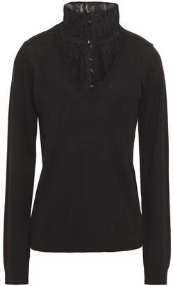 Claudie Pierlot Lace-paneled Wool Sweater