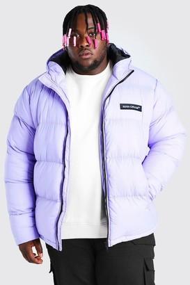 boohoo Mens Purple Plus Size MAN Branded Hand Filled Puffer, Purple