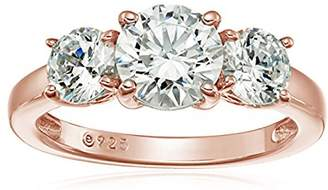 Swarovski La Lumiere Rose Gold-Plated Sterling Silver Zirconia 2 cttw Round 3 Stone Ring, Size N1/2