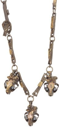 Valentino Twisted Metal Crowned Skull Statement Necklace