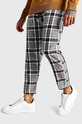 boohoo Large Scale Check Cropped Smart Jogger Trouser