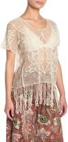 Angie Short Sleeve Floral Applique Crochet Top
