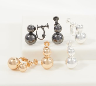 Joan Rivers Classics Collection Joan Rivers Set of 3 Pierced or Clip Metallic Ball Earrings
