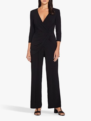 Adrianna Papell Jersey Long Sleeve Jumpsuit, Black