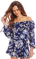 Gianni Bini Off-the-Shoulder Long Sleeve Floral Blouse