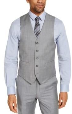 Michael Kors Closeout! Men's Classic-Fit Airsoft Stretch Grey Solid Suit Vest