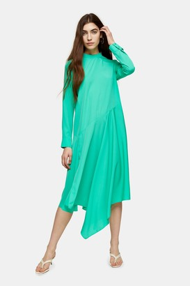 Topshop Womens Green Asymmetric Midi Chuck On Dress - Green