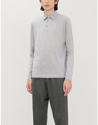 Richard James Fitted wool and cotton-blend polo shirt