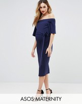 Asos Midi Dress with Off Shoulder and Self Tie
