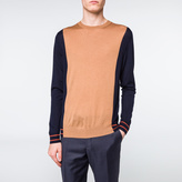 Paul Smith Men's Taupe And Navy Pieced Merino-Wool Sweater