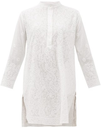 Juliet Dunn Floral-embroidered Side-slit Cotton Tunic Dress - White