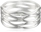 Robert Lee Morris Soho Silver Sculptural Cut Out Hinged Bangle Bracelet