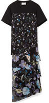 3.1 Phillip Lim Cotton-jersey And Floral-print Crinkled Silk-chiffon Top - Black