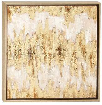 """Cosmoliving By Cosmopolitan Metallic Gold Leaf Contemporary Abstract Painting in Wood Frame, 24""""x2"""