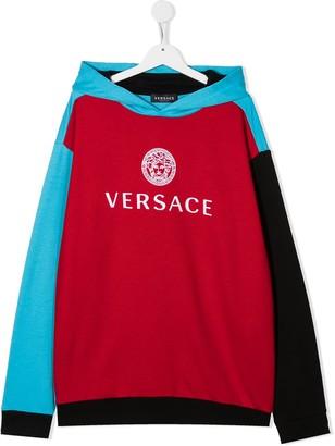 Versace TEEN logo-print colour block hoodie