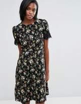 Oasis Longer Line Floral Print Lace Sleeve Dress