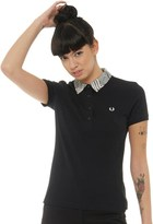 Fred Perry Womens Prince Of Wales Trim Pique Short Sleeve Top Black