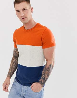 Selected colour block stripe t-shirt in organic cotton-Orange
