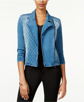 Material Girl Juniors' Quilted Denim Moto Jacket, Only at Macy's