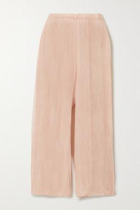 Skin Sapir Cropped Crinkled Silk-chiffon Wide-leg Pajama Pants - Pink