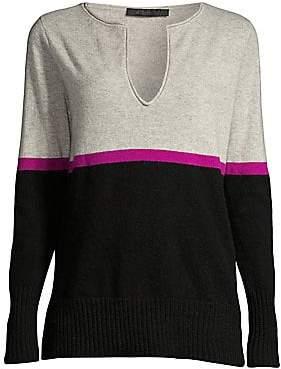 Raffi Women's Stripe Split-V Cashmere Pullover