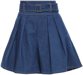 ADEAM Flared Belted Pleated Denim Shorts