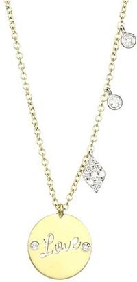 Meira T 14K Yellow Gold & Diamond Love Pendant Necklace
