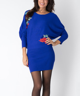 Yuka Paris Olympian Blue & Red Floral Dolman Dress