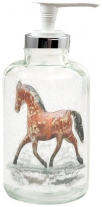 clear Doggylips Tin Horse, Glass Lotion Dispenser