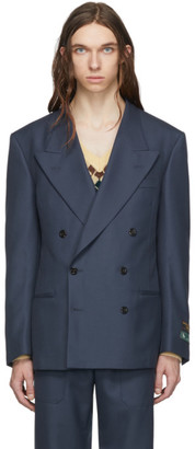 Gucci Blue Drill Military Blazer