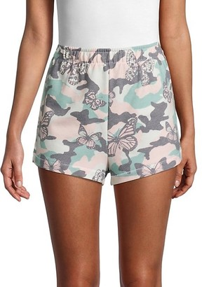 Wildfox Couture Havi Camo Butterfly-Print Shorts