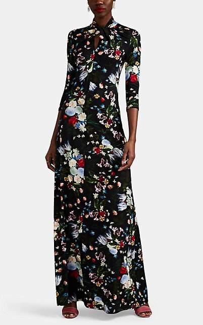 Erdem Women's Nia Floral Jersey Gown - Black Multi