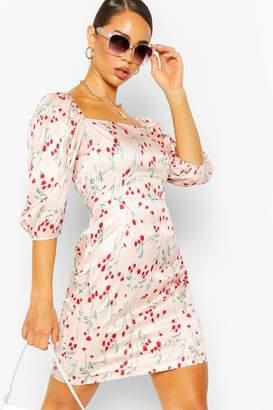 boohoo Rose Print Satin Square Neck Mini Dress